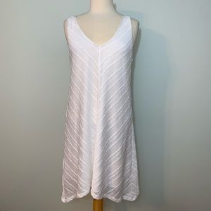White on white diagonal striped dress